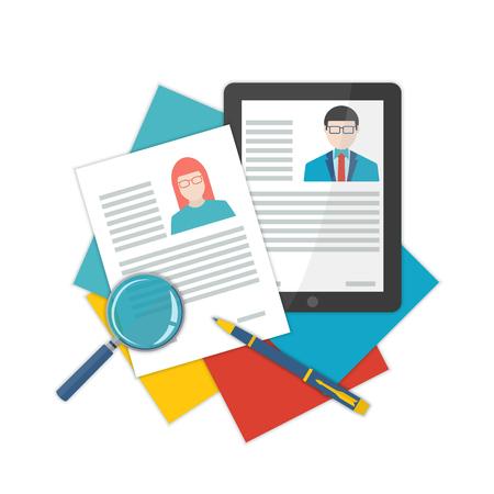 ilustración de diseño puesto de trabajo candidato contratación curriculum vitae plana. Conceptos para los recursos humanos y reclutamiento. Busca cv y el perfil de los empleados.