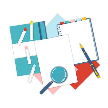 pen and paper: Flat design notepad, paper folder, pen and color sheets of paper isolated on white background with place for text. School vector background