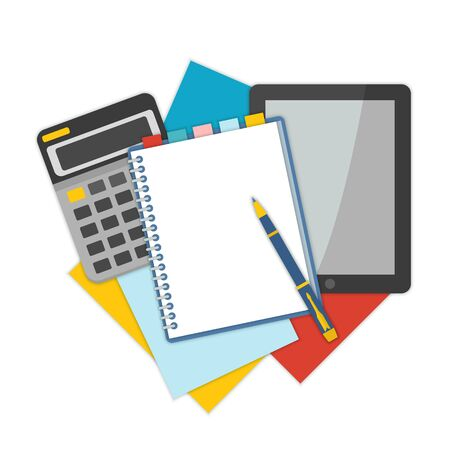 Top view of workplace with documents. Concepts for business analysis, consulting, and financial audit. Brainstorm and calculations. Vector illustration.