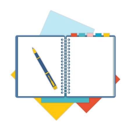 school notebook: Flat design notepad and paper sheets isolated on white background whit place for text. School vector background with an open notebook.