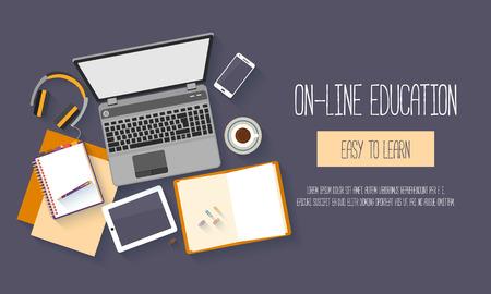 Plat ontwerp baners voor online onderwijs, trainingen, e-learning, afstand trainingen. Vector illustratie. Stock Illustratie
