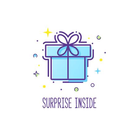 la caja del logotipo de regalo del vector de estilo de línea con un arco. Ejemplo lindo de caja de regalo presente, saludo, sorpresa. mensaje de bienvenida o una caja de papel de regalo.