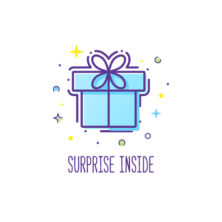 surprise box: Vector line style logo gift box with a bow. Cute illustration of gift box present, greeting, surprise. Greeting box or wrap gift box.