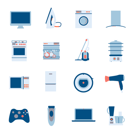 Flat design set modern vector icons of home appliances isolated on white background. Dishwasher, washing mashing, aircon and other house equipment.