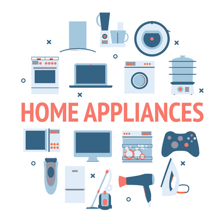 home equipment: Home electronics appliances circle. Flat design set modern vector icons of home appliances and other house equipment. Illustration