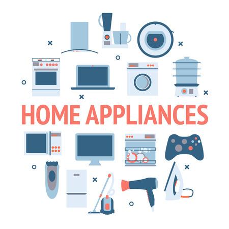 Inicio aparatos de electrónica de círculo. Diseño plano iconos conjunto de vectores modernos de electrodomésticos y otros equipos de casa.