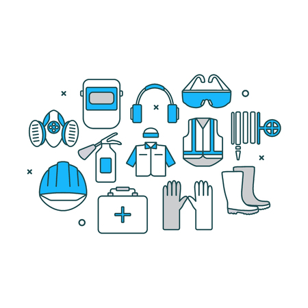 Thin line flat design banner of safety work icons including tools and protection elements. Modern vector illustration concept, isolated on white background