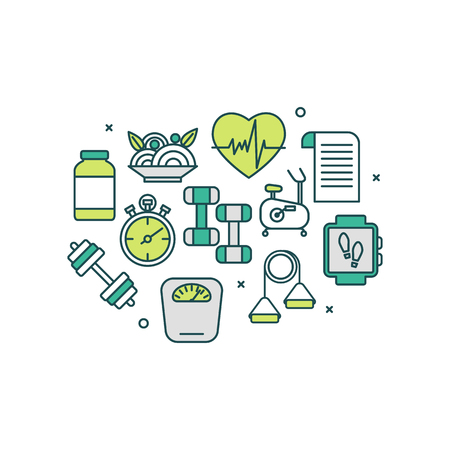 Healthy lifestyle banner concept. Thin line flat design icons for GYM and sport. Modern vector illustration concept easy