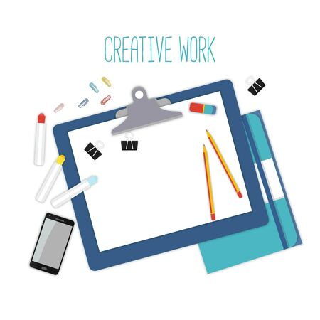 Flat design mockup for creative workspace with objects isolated on white background. Vector Illustration