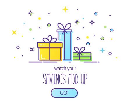 Gift box logo. Illustration