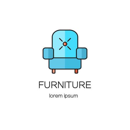 Armchair, furniture logotype design templates.