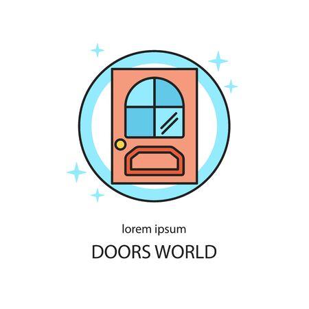 Door line icon logotype design templates. Vectores