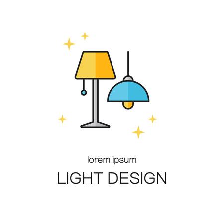 Lighting desigh line icon logo templates.