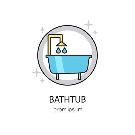 Bañera y plantillas de diseño de logotipo sanitarias.