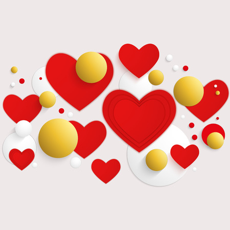 Vector horizontal banner with red hearts and 3d balls.