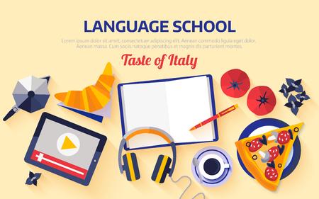 Plat ontwerp web banner voor Italiaanse taal school.