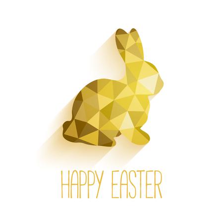 Feliz tarjeta de felicitación de Pascua en el estilo de bajo poli triángulo. Vectores