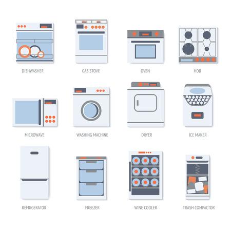 establecer iconos diseño plano de electrodomésticos.