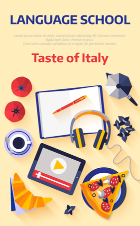 Flat design web banner for italian language school.