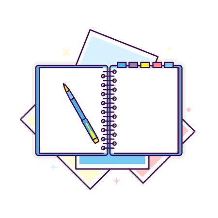 Flat design notepad with a pen illustration
