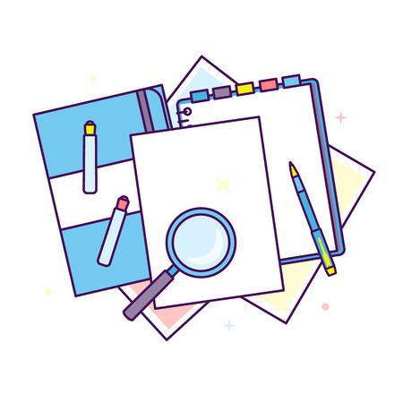Flat design stationery illustration. Vectores