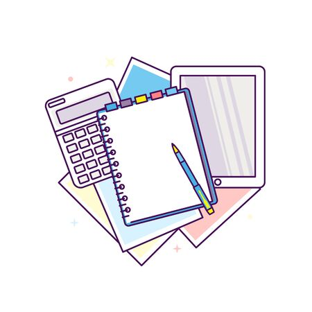 Top view of workplace with documents illustration.