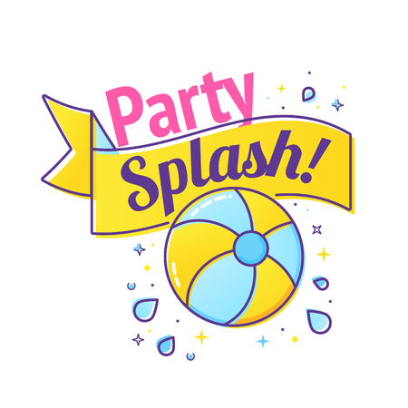 Pool party label with inflatable ball and splash in swim pool water. Vector illustration Çizim