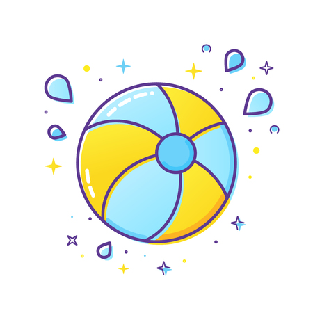 Inflatable ball and splash icon isolated Illustration