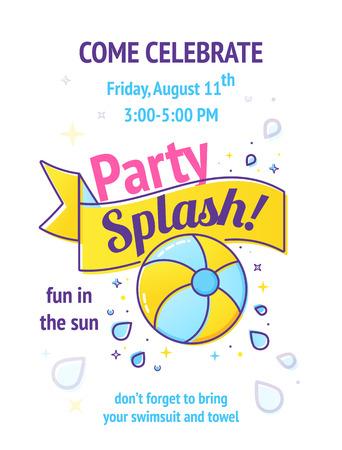 Pool party poster met opblaasbare bal en splash in zwembadwater. Stockfoto - 81725220