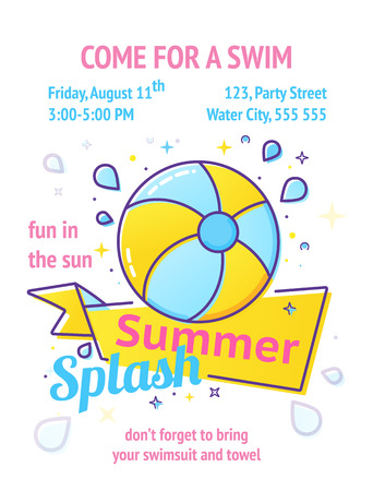 Pool party poster with inflatable ball and splash in swim pool water.