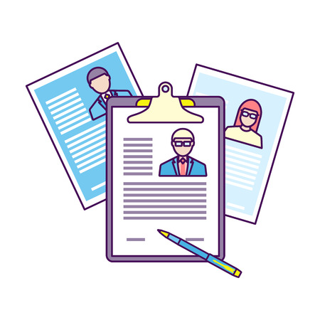 Top view of workplace with documents. Illustration