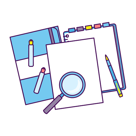 Top view of workplace with documents. Ilustracja