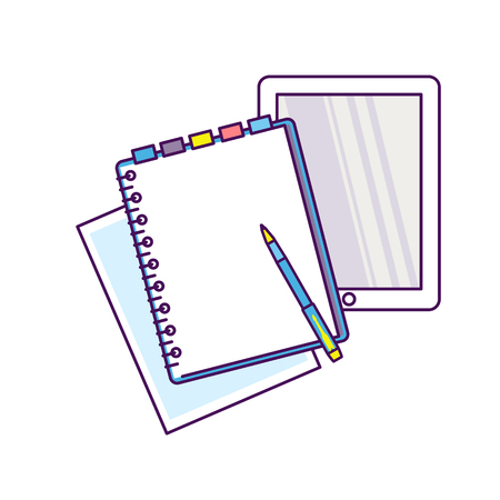 Top view of workplace with documents. Stock Vector - 82271660