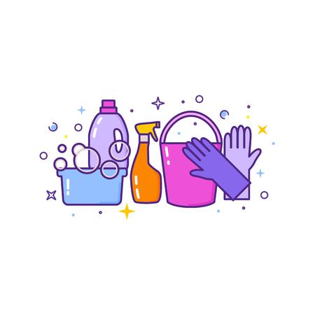 Płaski projekt logo do czyszczenia usługi na białym.