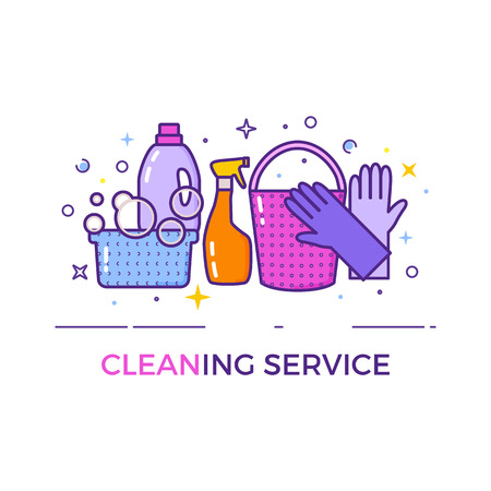 청소 서비스 플랫 디자인 로고는 흰색에 격리입니다. 일러스트