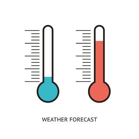 Flat design icons of thermometer
