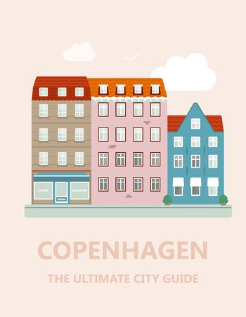 오래 된 도시의 평면 디자인입니다.