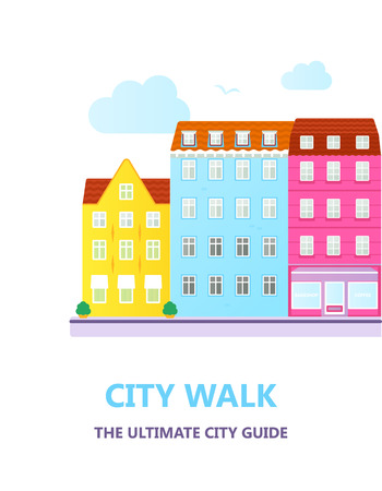 Concept for city guide. Beautiful town houses.