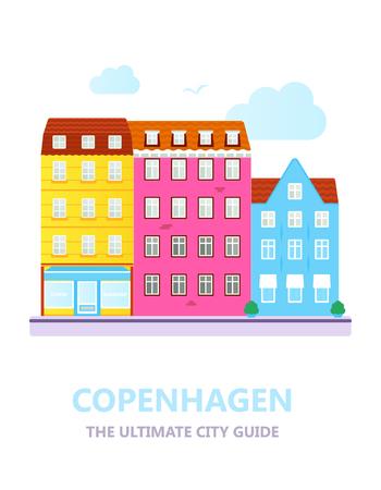 Flat design of the old city. Illustration