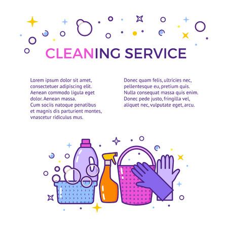 Flache Design-Logo für Reinigung Service isoliert auf weiß. Standard-Bild - 83681832