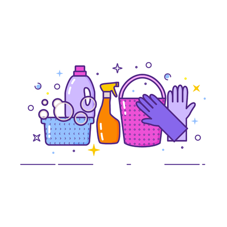 Flat design logo for cleaning service Illustration