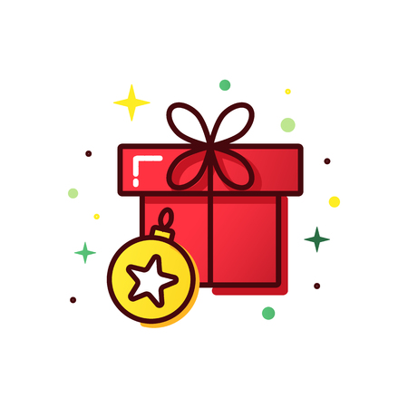 Vector line style christmas gift box. Cute illustration of gift box present, greeting, surprise. Greeting box or wrap gift box. Stock Photo