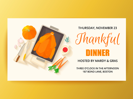 Thanksgiving dinner banner. Illustration