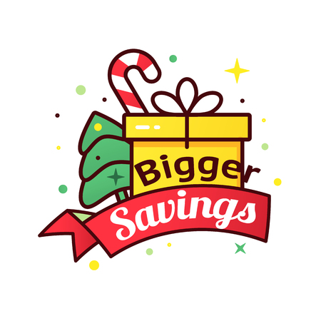 Bigger savings Christmas icon Illustration