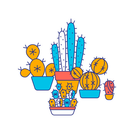 Line color icons of cactus Illustration