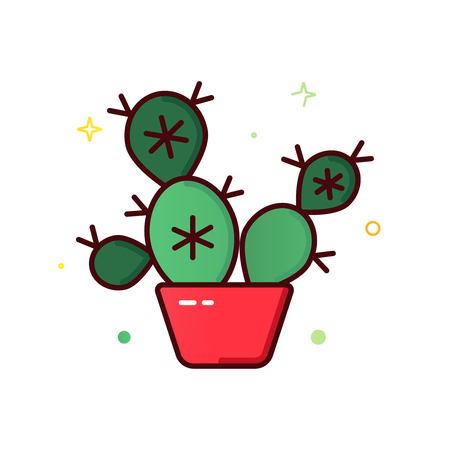 Color line vector icon of cactus in a pot isolated on white 写真素材 - 101172683