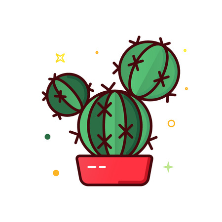 Color line vector icon of cactus 写真素材 - 101227424