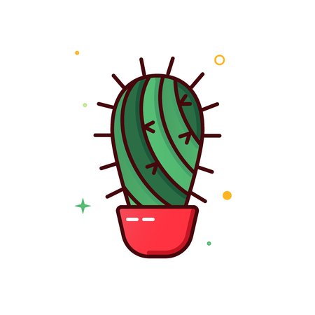Color line vector icon of cactus  イラスト・ベクター素材