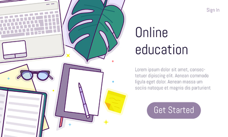 Flat design baner for online education, training courses, e-learning, distance trainings. Landing page template, easy to edit and customize. Vector illustration.