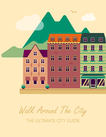 Concept for city guide. Beautiful town houses. Flat design of the old city.